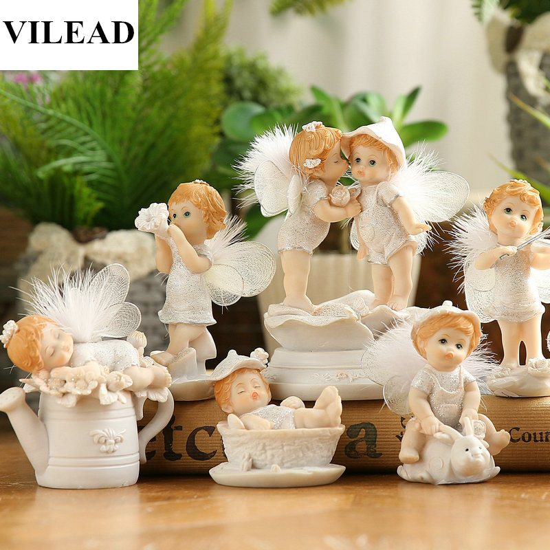 VILEAD 7 Styles Resin Baby Angel Figurine Lovely Miniatures Cute Fairy Crafts for Home Decor Creative Gifts Kids Child