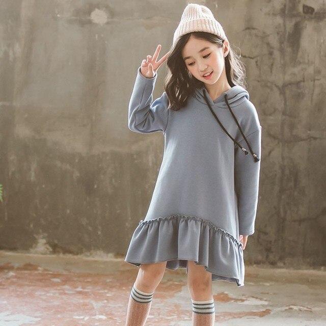 Рождество Русалка толстовки с капюшоном бархат повседневные платья для девочек Зима Осень Теплые синие корейские платья для подростков одежда девочек