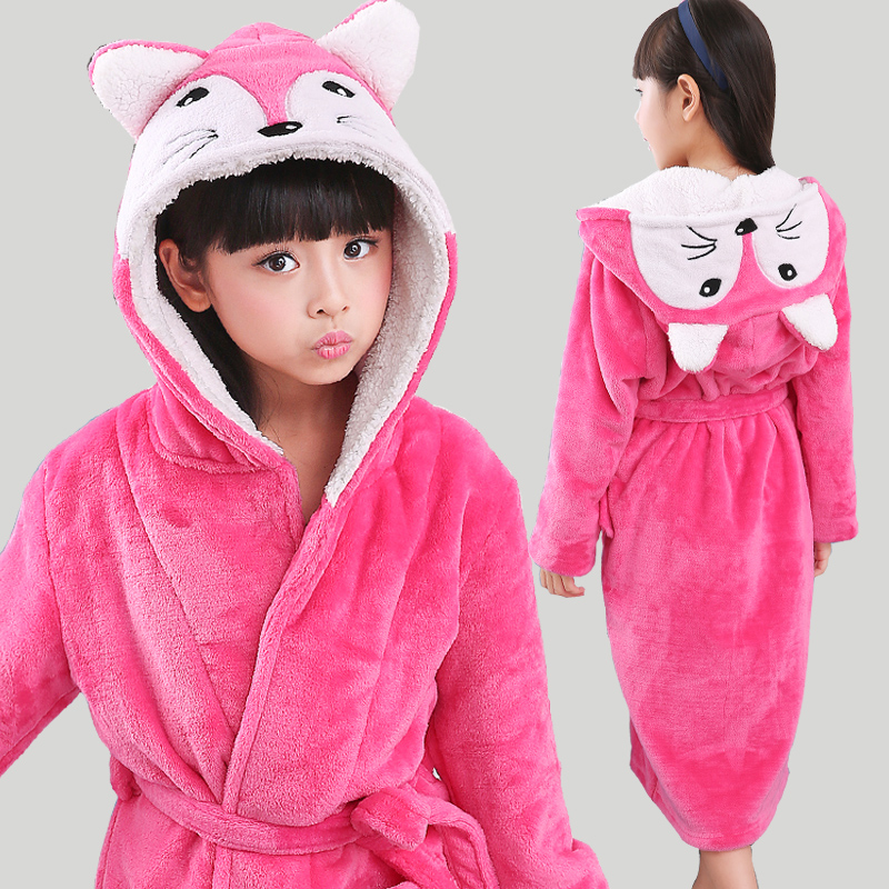 New Winter Warm Dressing Gown Kids Animal Baby Bathrobe Flannel Children Bathgrowns Bathrobes Rabbit Hooded Bath Robe for Girls(China)