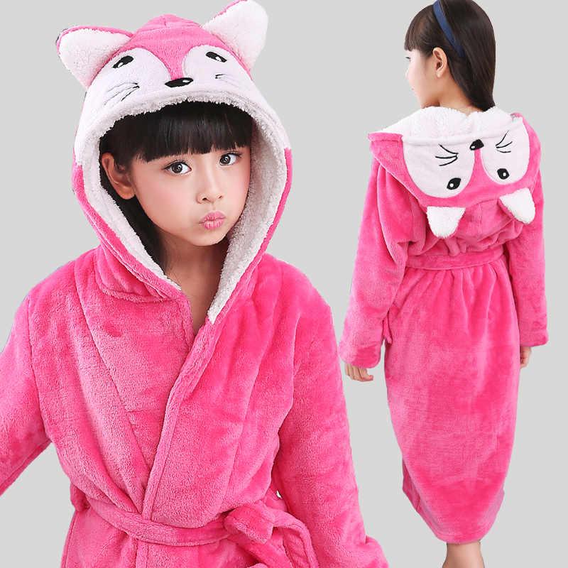 1705f25dd2 New Winter Warm Dressing Gown Kids Animal Baby Bathrobe Flannel Children  Bathgrowns Bathrobes Rabbit Hooded Bath