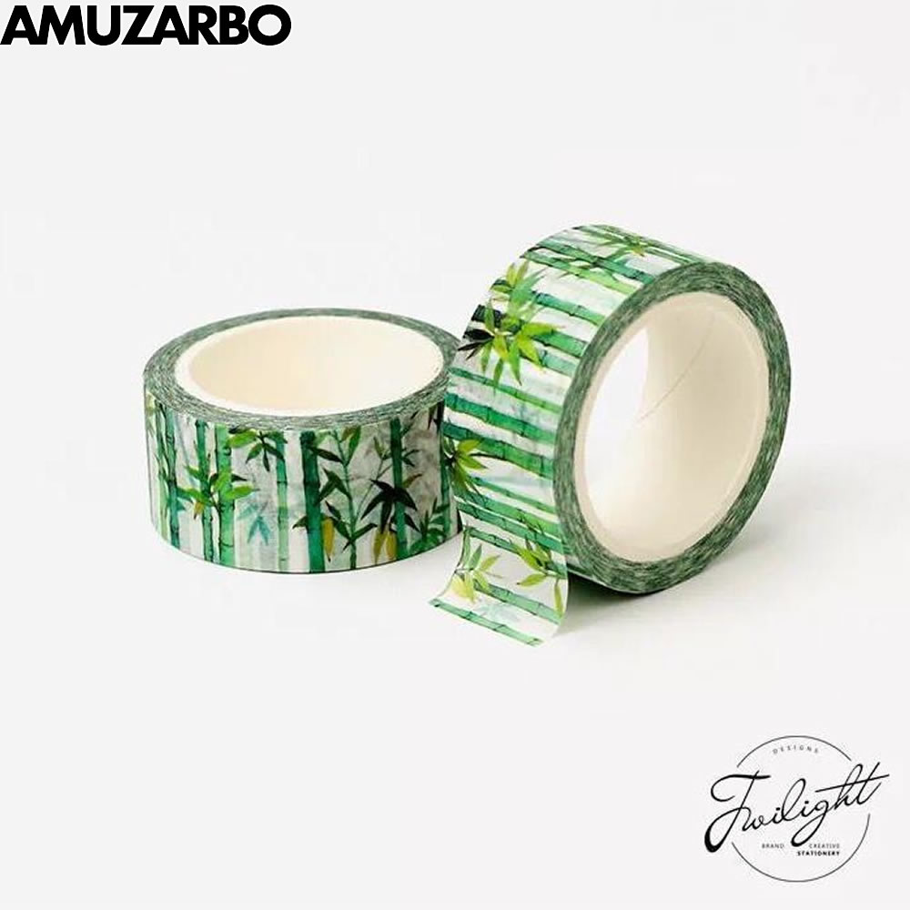 20mm*8m Simple Small Fresh Bamboo Series Masking Washi Tape Album Account Diary Decoration Sticker Office Stationery Supplies