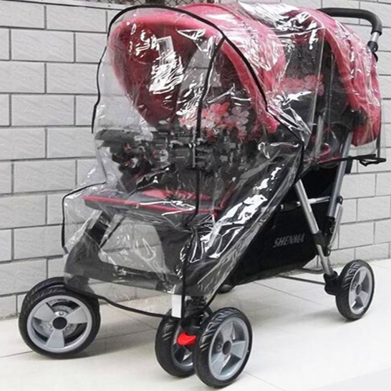 Image 3 - Twin Babies Cart stroller umbrella Water proof Before And After Rain Wind Pushed A Chair Dust Cover Baby Cart YUJU27LL-in Strollers Accessories from Mother & Kids