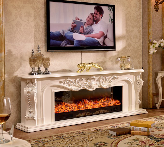 Living Room Decorating Warming Fireplace Wooden Fireplace Mantel W200cm Electric Fireplace Insert LED Optical Artificial Flame