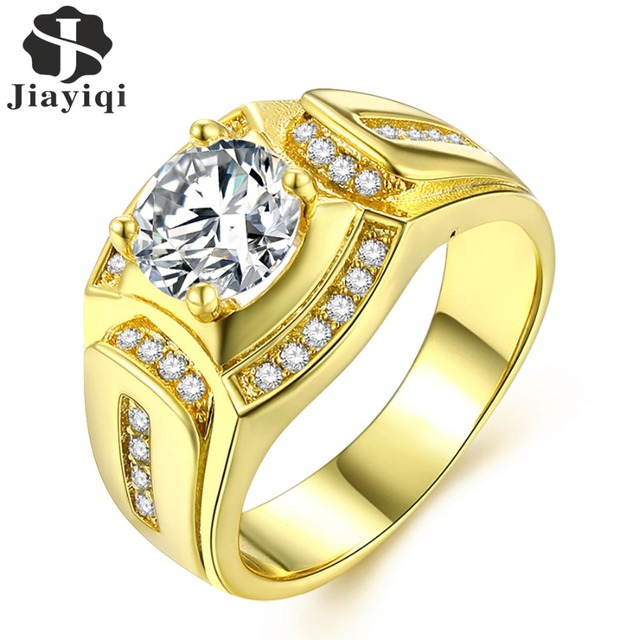 Jiayiqi 2018 New Fashion Gold Color Cubic Zirconia Ring For Men Party Birthday Gifts Husband Gift