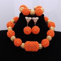 African Nigerian Beads 2018 Jewelry Set For Women Orange Gold Color Wedding Big Balls Free Shipping Miss Mousaie Choker Set