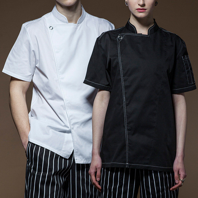 Poly Cotton Short Sleeve Shirt Hotel Restaurant Chef Kitchen Catering Uniform Barista Bistro Diner Baker Bartender Work Wear B12