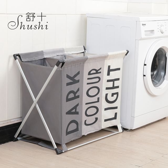 Shushi Dirty Clothes Organizer Three Compartment Storage Basket Collapsible Large Laundry Hamper Waterproof