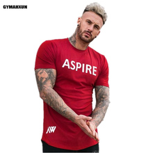 mens Fitness undershirt t Shirt Crossfit Bodybuilding Printing Muscle male Short sleeve Slim Cotton Tee tops clothing Red/black