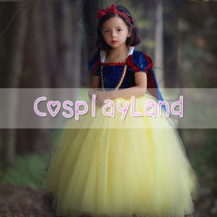Girls Dresses Costume Snow White Dining Gown Child Princess Cosplay Party Fancy Dress