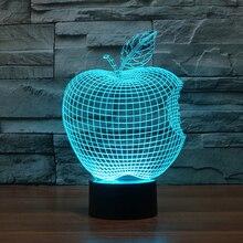 Colorful font b 3D b font Apple font b lights b font font b LED b