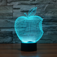 Colorful 3D Apple lights LED Acrylic Stereoscopic Light Touch Switch illusion USB Table Desk lamp Nightlight