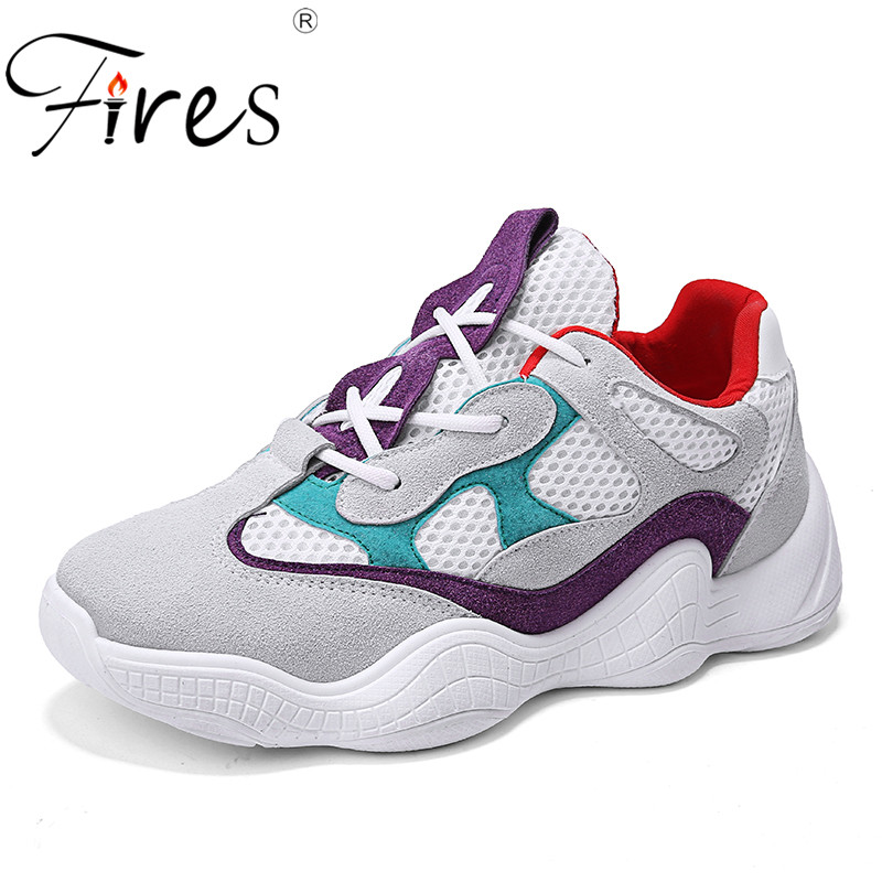 Fires New Fashion Women Casual Shoes PU Mesh Platform Shoes Soft Black Purple Sneakers Ladies Chaussure Femme Lace-up Shoes fires women summer sneakers casual shoes flats mesh vulcanize female platform shoes ladies high top shoes chaussure femme
