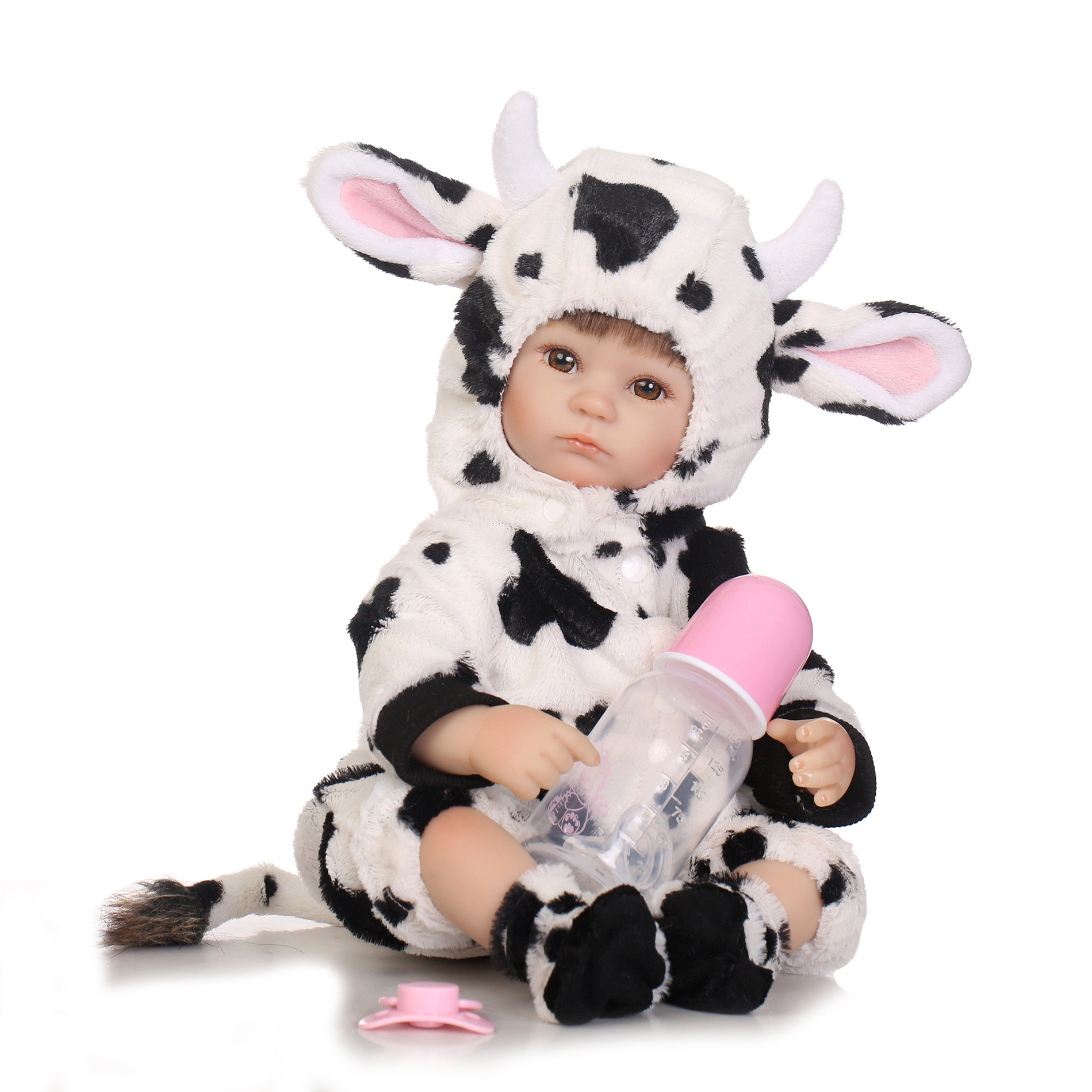 40cm Silicone reborn dolls toys for Baby Appease doll Lifelike Emulation Dolls play house toy Cute dairy cattle clothing dolls цена