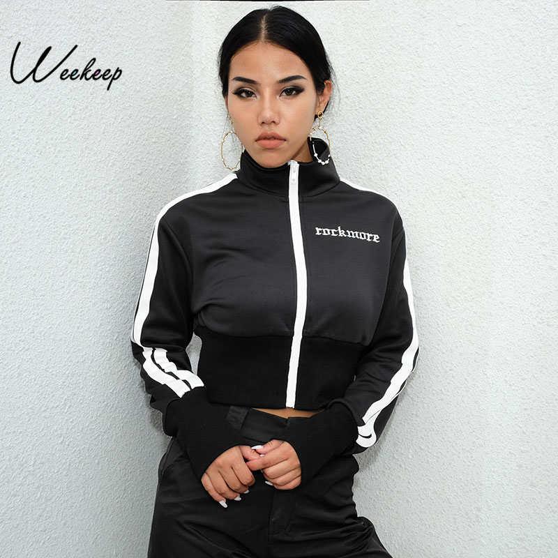 Weekeep Women Black Stripped Turn-down Collar Jacket Cropped Letter Embroidery Jackets Fashion Streetwear Casaco Feminino Jacket