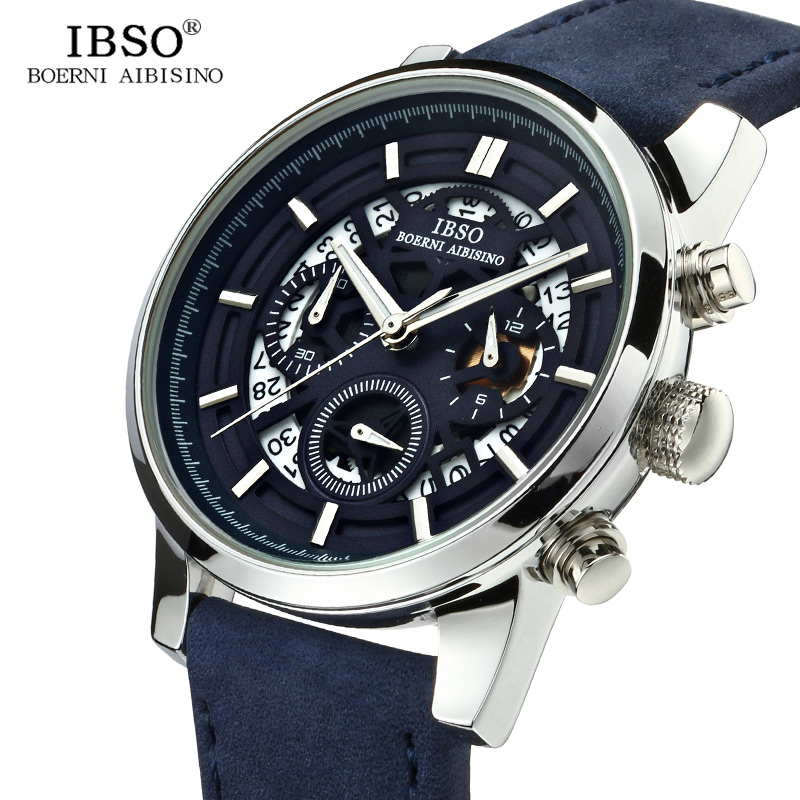 IBSO New Hollow-carved Mens Watches 2018 Calendar Stopwatch Sports Quartz Watch Men Blue Genuine Leather Strap Relogio Masculino ibso outdoor leisure sports watches for men genuine leather band quartz mens watches 2018 fashion waterproof relogio masculino