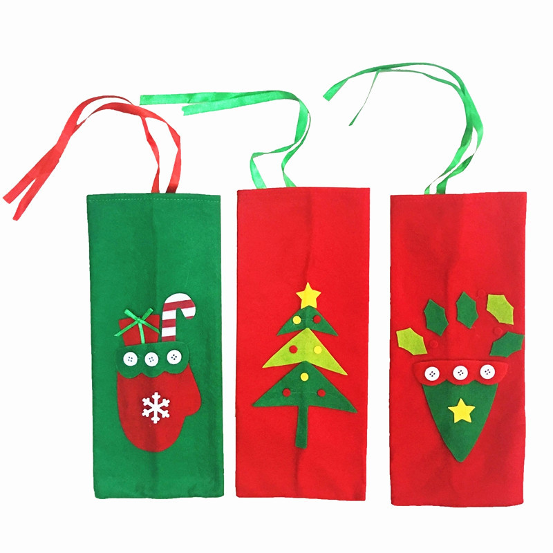 Novelty Christmas Champagne Wine Bottle Cover Bags Gift Pouch Decoration