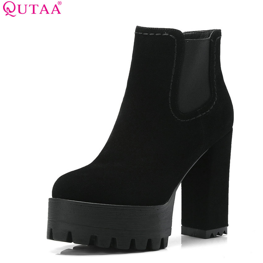 QUTAA 2019 Women Ankle Boots Synthetic Sexy Women Shoes Platform Square High Heel Winter Shoes Women Boots Big Size 34-42