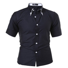 camisa masculin 2017 New Fashion Men's Striped Edging Lined Short-sleeved Shirt Slim Casual Dress yeezy Lined with stripes tommy