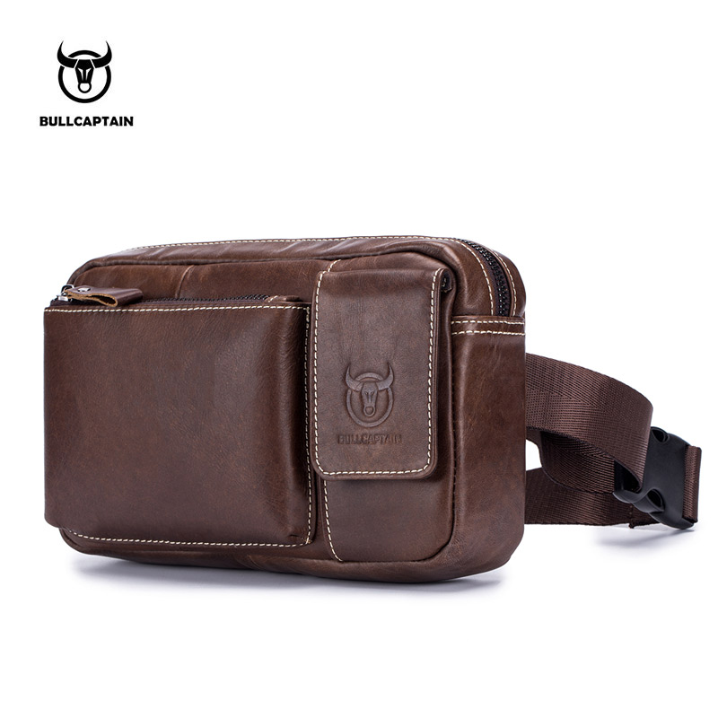BULLCAPTA Genuine Leather malle Waist Packs Fanny Pack Phone Belt bag Pouch Gray Black Bum Hip Bag 9.7 Tablet PC bag belt pack