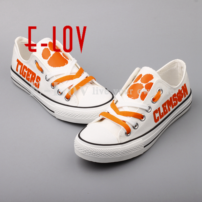 2018 Clemson Tigers Canvas Shoes Group Custom Print Low Top Lace Shoes White Black  Flat Shoes Drop Shipping ncaa clemson tigers garden flag