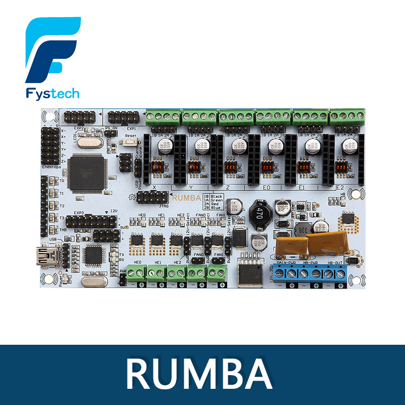 Rumba For 3D printer motherboard rumba MPU / 3D printer accessories RUMBA optimized version control Board 3d printer motherboard rumba mpu rumba optimized version control board with 6pcs a4988 step and 6pcs heatsink with free shipping