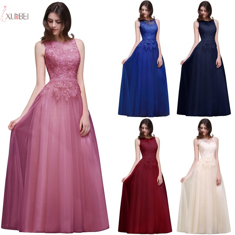 2019 Luxury Pink Burgundy Navy Blue Tulle Long   Bridesmaid     Dresses   Sleeveless Applique Wedding Party   Dress   vestido longo