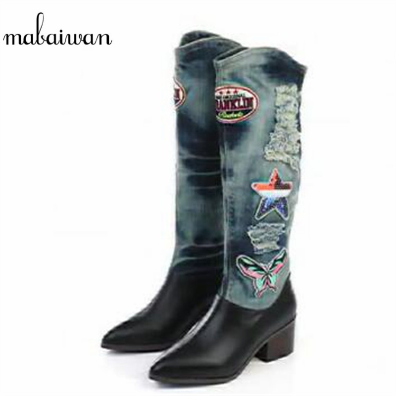 Mabaiwan 2017 Fashion Pointed Toe Women Knee High Boots Spring Autumn Patchwork Slip On Denim Long Botas Fringe Botines Mujer