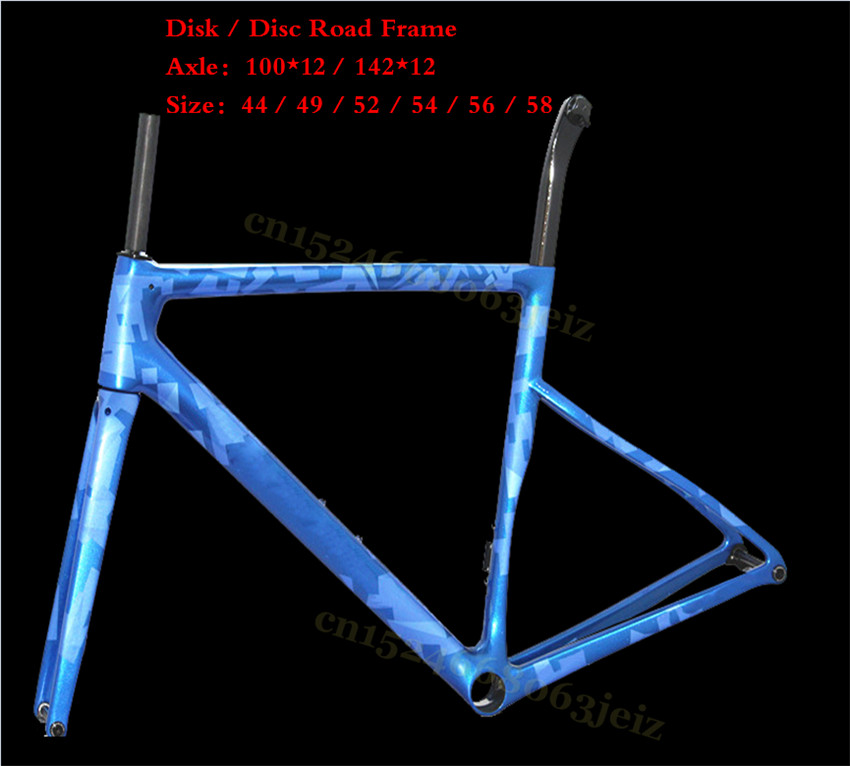 Latest Road Carbon Disc Frame UD Weave With BSA Or BB30 Carbon Frameset Include Carbon Road Frame Axle 100*12 142*12 Disk