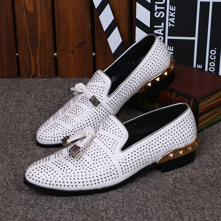 Italian shoes men leather Flat Loafers White Crystal Bling Bling Rhinestone Leather Dress Shoes Slip On Zapatos Hombre size13 choudory crystal rhinestone men shoes luxury genuine leather loafers slip on party oxfords zapatos hombre 2016