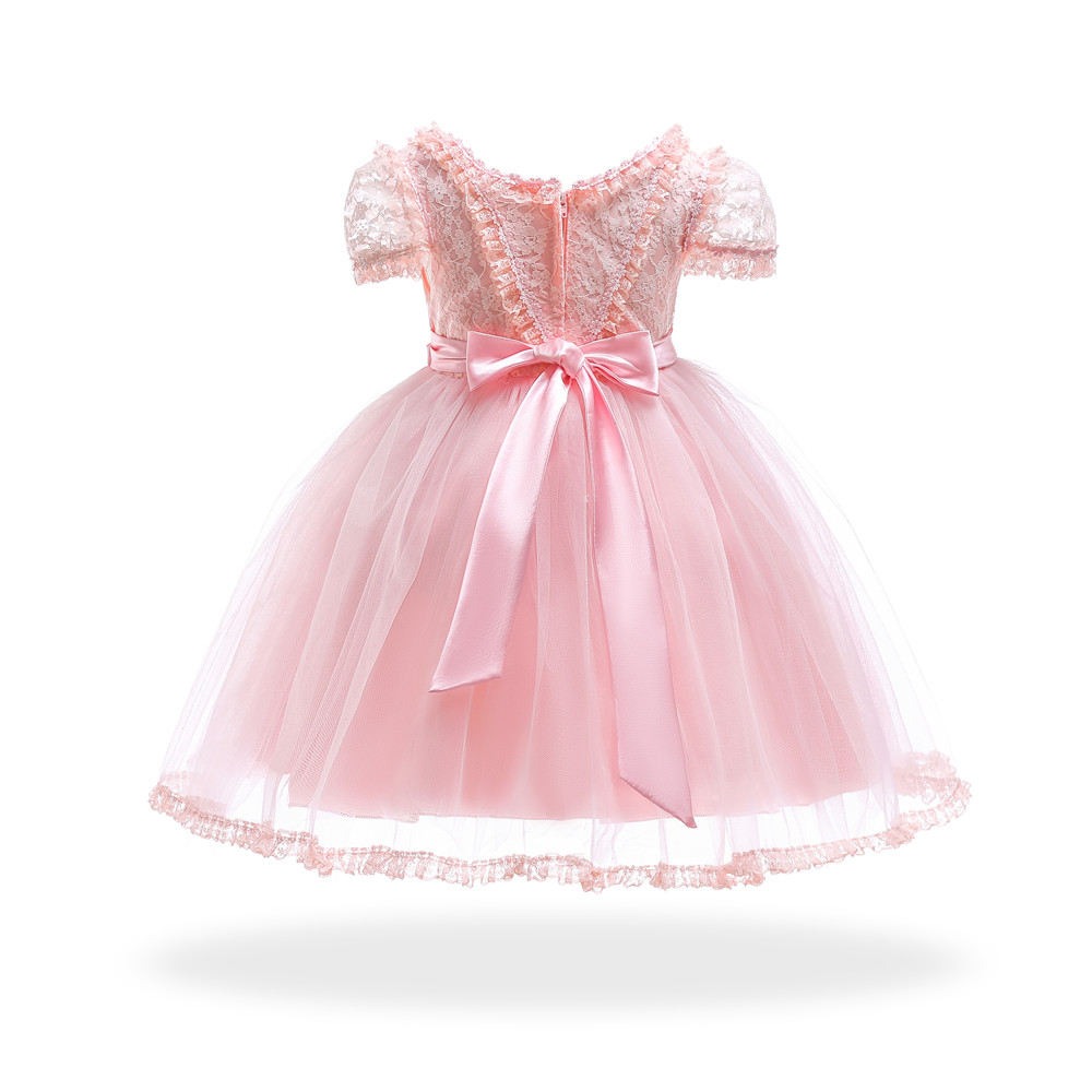 Free Shipping Knee Lenght 4T 12T Girl Party Dress 2019 Arrival Champagne Child Dresses Pageant Short Sleeves Kids Evening Gowns in Dresses from Mother Kids
