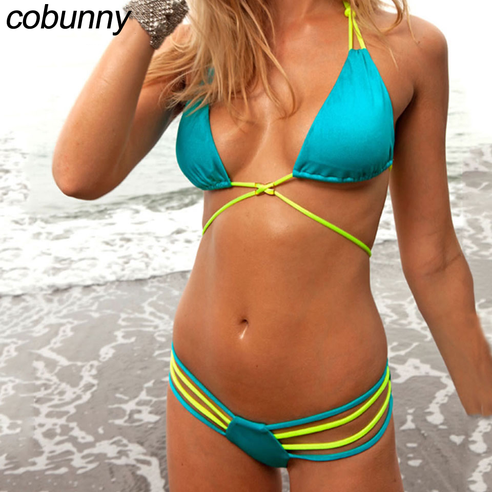 Cobunny Bikini Sexy Women Swimwear Bikini Set Bandage Swimsuit For Women Solid Bathing Suit Swimming