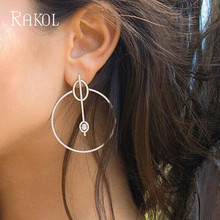 RAKOL Cubic Zircon  Round Circle Bridal Stud Earrings Set White Color With Clear Crystal Fashion Jewelry For Women RE520329