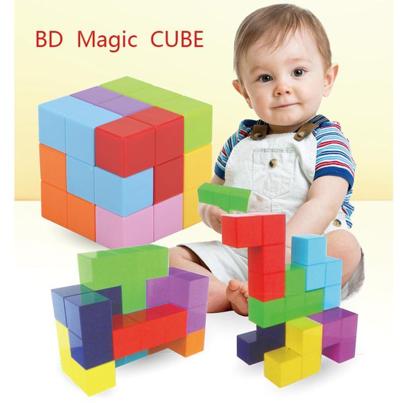 2019 Nieuwe Stijl Speelgoed Magnetische Kubus Bouwstenen 3d Magneet Tegel 7 Pcs Set Puzzel Speed Cube Met 54 Pcs Gids Kaarten Intelligencetoys Voor Kinderen Rijden Met Een Brullende Handel