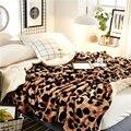 Леопардовый принт Двухслойное шерпа одеяло пледы Уютные теплые одеяла спальные одеяла для осени зимы постельные принадлежности King Queen разм...