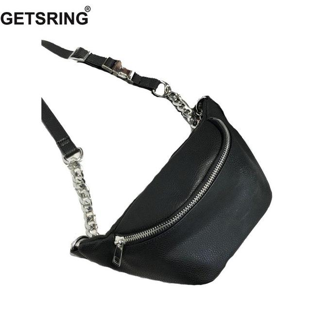 f8699b2c3f3 GETSRING Women Waist Bag Belt Bag Fanny Pack bags for women 2018 Pu Leather Chest  Bag Vintage White Chain Small Belt Money Purse-in Waist Packs from Luggage  ...