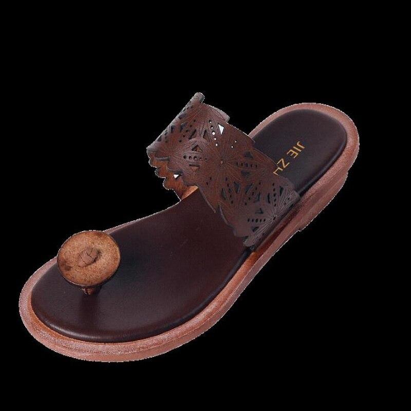 2019 été en cuir véritable femmes sandales littéraires rétro tongs pour femmes femmes plage pantoufles Top qualité dames chaussure Sli - 6