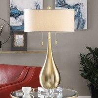 Двойной E27 базы Настольная лампа современная мода Спальня Lampara де пирог отель Гостиная стоя светло бежевый оттенок металла настольная лампа