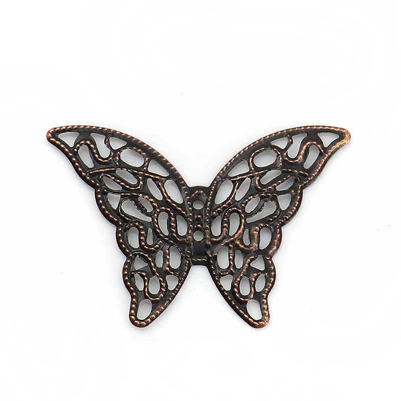 DoreenBeads Iron Based Alloy Filigree Stamping Embellishments Butterfly Animal Antique Copper 41mm(1 58) x 29mm, 100 PCs