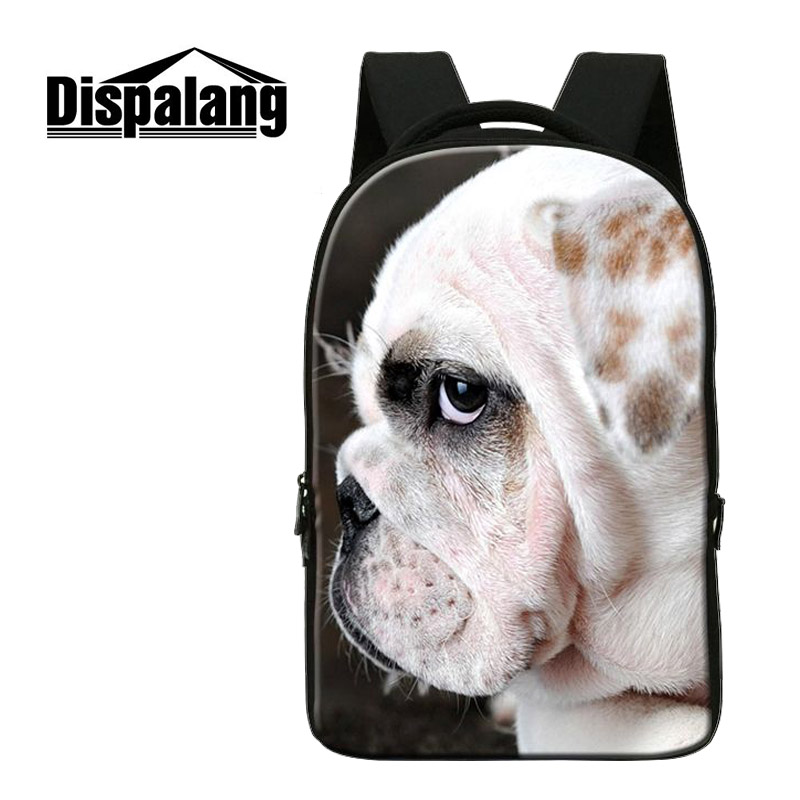 ФОТО Dispalang Fashion School Laptop Backpack Canvas Back Pack Bags Bulldog Tiger Wolf Animal Prints  Women School Bags For Teenagers