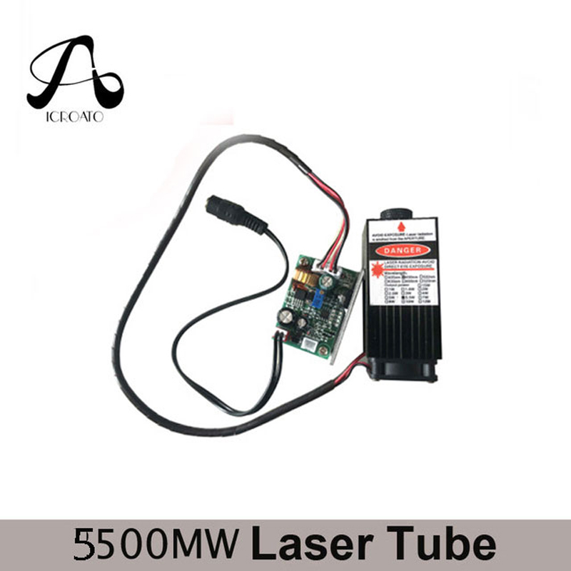 ICROATO 5.5W High Power 450NM Focusing Blue Laser Module Laser Engraving and Cutting TTL Module 5500mw Laser Tube+Googles send glasses as gift 5500mw blue laser module high power 450nm 5 5w laser engraving machine parts cutter ttl laser tube