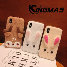 KINGMAS For iPhone 7 Case Cute Rabbit Furry Warm Fur Bling Rhinestone Plush Bunny Case Cover for iPhone X 6 6s 8 Plus XS XR MAX