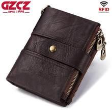 eb383e09a GZCZ marca caliente Cartera de cuero genuino de los hombres carteras de RFID  Mini moneda monedero corto hombre embrague cartera .