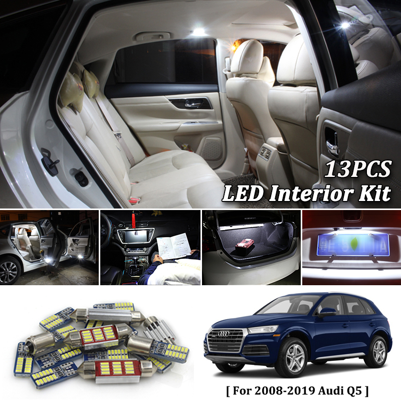 13Pcs White Canbus led Car interior lights Package Kit for 2008- 2017 2018 2019 Audi Q5 led interior Dome Trunk lights13Pcs White Canbus led Car interior lights Package Kit for 2008- 2017 2018 2019 Audi Q5 led interior Dome Trunk lights