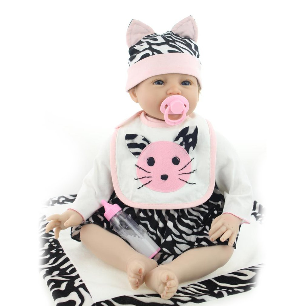 55cm Soft Silicone Reborn Baby Doll Non-toxic Safe Toys Children Play Toys Lovely Lifelike Playmate Gift Baby Doll Toy lovely simulation reborn baby doll kids sleeping playmate accompany silicone toys lifelike children high quality toys gift