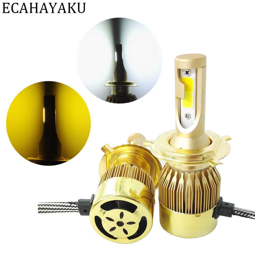 ECAHAYAKU 2 предмета H4 светодиодный 72 Вт 12 В 24 В автомобиля светодиодный фар H7 H11 H1 H3 HB3/9005 HB4/9006 9012 двойной Цвет светодиодный свет 3000 К 6000 К