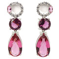 Pretty Drop Created Pink Tourmaline, White CZ SheCrown Woman's  Silver Stud Earrings 38x11mm