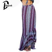 Daylook Summer Skirt Bohemia Style High Waist Lace Up Tribal Print Loose Asymmetrical Ruffle Hem Maxi