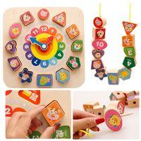 קנדיס גואו חיה קריקטורה עץ אבן בניין צעצוע עץ צורת שעון רכבת קו ללבוש תינוק לתפוס משחק התאמה מחרוזת חרוז מתנת סט