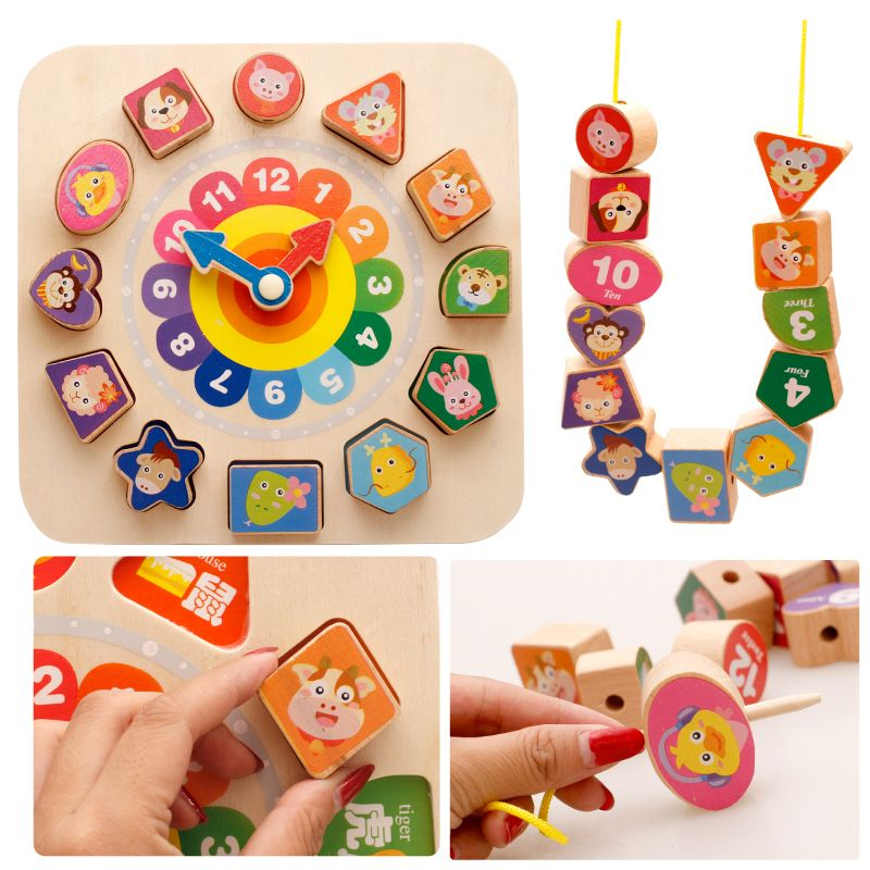 Candice guo wooden toy wood building block cartoon animal clock shape match game baby catch train wear line string bead set gift
