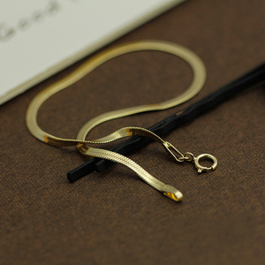 Image 3 - 14k Pure Gold Blade Necklace Flat Thin Mirror Snake Bone Wide Collarbone Chain Women And Men Gift Genuine Jewelry Hot Sale good